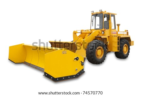 Snow removal vehicle used during blizzards, isolated with shadow and clipping path