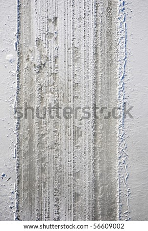 snow riders tracks on a clean snow - stock photo