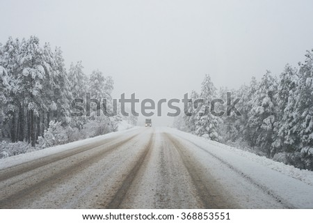 snow road - stock photo