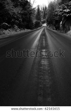 Snow Road - stock photo