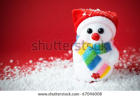 Snow santa on the red with vignette effect - stock photo