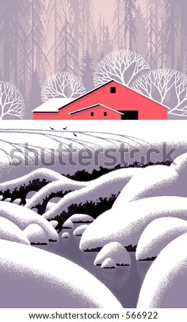 Snow Scene with Barn / Illustration / S-004 - stock photo