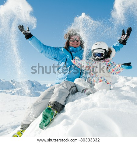 Snow, ski, sun and fun - stock photo