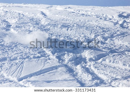 snow slope for skiing - stock photo
