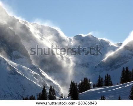 Snow storm in alps (Elm, Switzerland) - stock photo