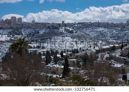 Snow Storm in Jerusalem, Israel