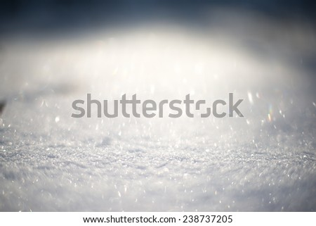 snow surface close-up of snow and flakes - stock photo
