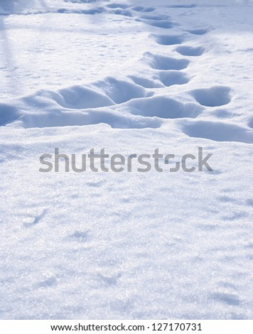 Snow texture and footprints in the snow - stock photo