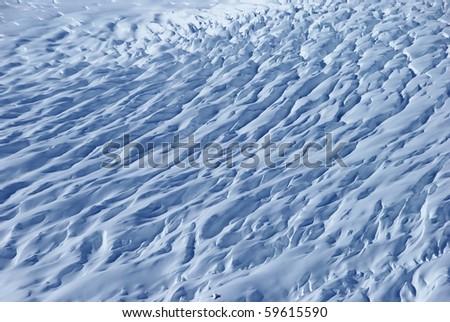 snow texture on a glacier - stock photo
