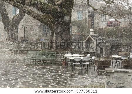 snow, Tsepelovo village, Greece - stock photo