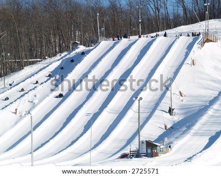 snow tube resort - stock photo