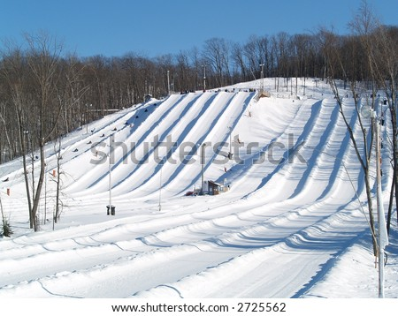 snow tube valley - stock photo