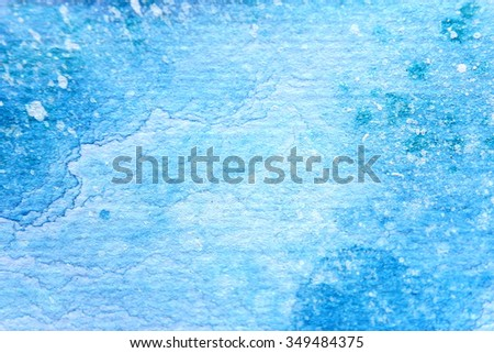 Snow Watercolor on Blue Background 8 - stock photo