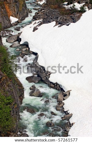 Snow Waterfall Landscape - stock photo