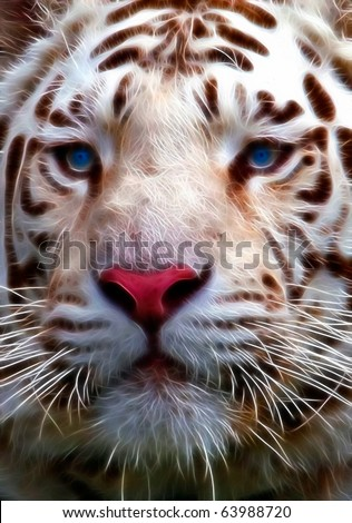 Snow White A fractal filtered image of a snow white tiger. Vertical. - stock photo