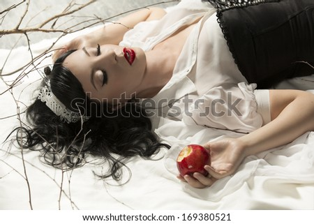 snow white girl poisoned apple - stock photo
