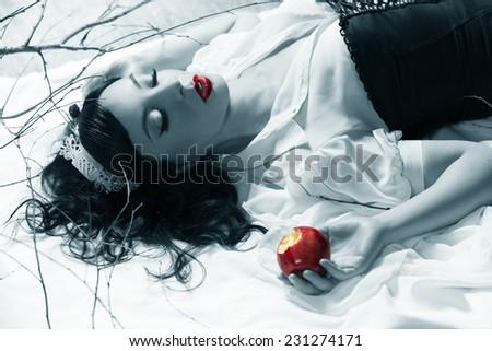 snow white girl poisoned apple - stock photo