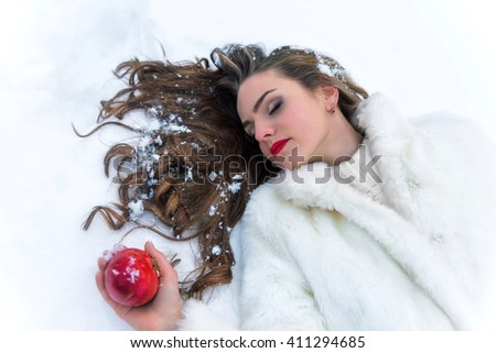 snow white girl poisoned with red apple - stock photo