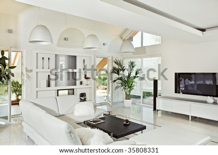 Snow-white living room interior in modern style