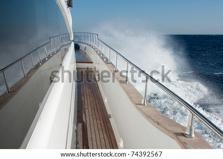 snow-white yacht drifting in Egypt on the Red Sea - stock photo