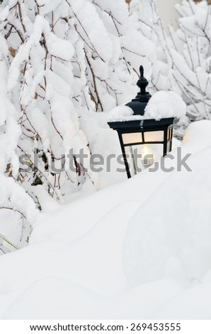 Snow winter in small Canadian town - stock photo