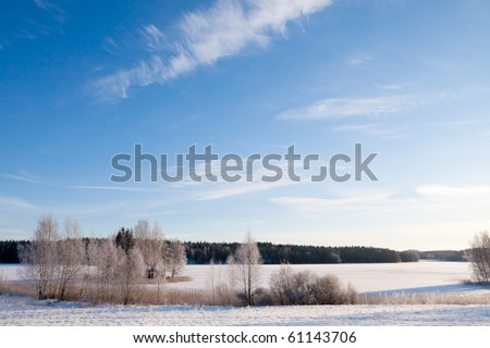 Snow winter landscape finland - stock photo