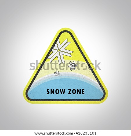Snow zone area sign paper craft, recycled paper craft on white background - stock photo