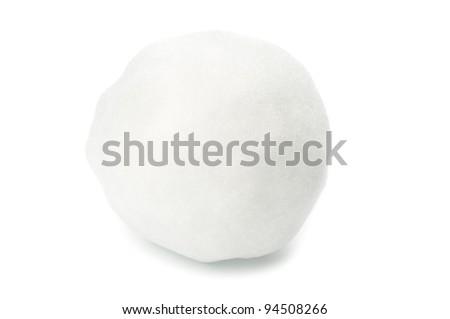 Snowball closeup on white background - stock photo