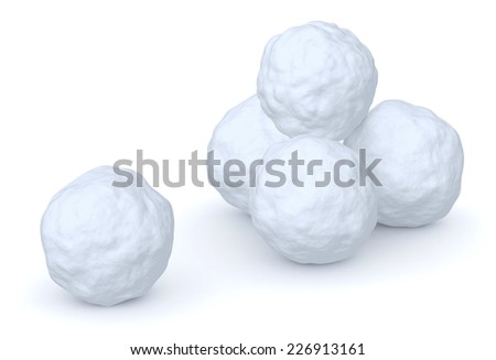 Snowballs heap and one snowball isolated on white background - stock photo