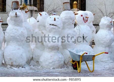 Snowballs-traditional a winter entertainment - stock photo