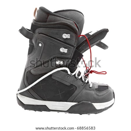 snowboard boots isolated on white