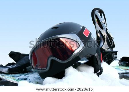 Snowboard equipment set on snow - stock photo