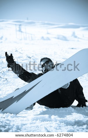Snowboard friend on snow. Winter sport lifestyle concept - stock photo