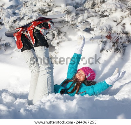 snowboard fun girl - stock photo