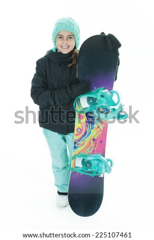 Snowboard Girl - stock photo