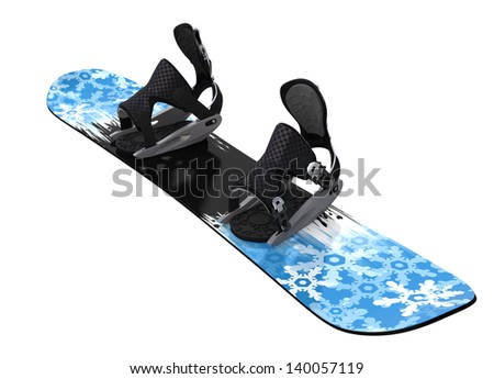 Snowboard isolated on white. Clipping paths - stock photo