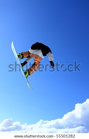 Snowboard jump - stock photo