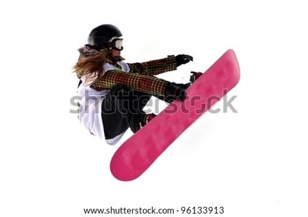 Snowboarder at jump - stock photo