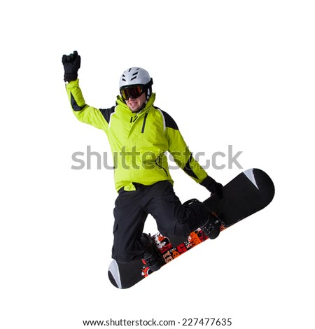 Snowboarder at jump over white background - stock photo