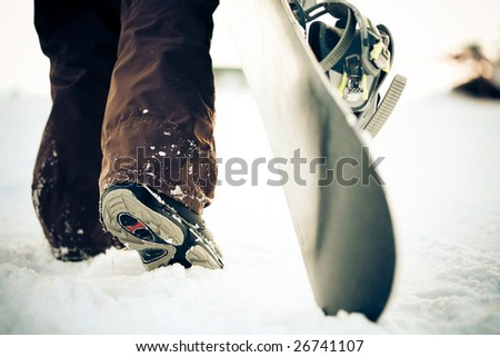 Snowboarder. cross-processing effect - stock photo