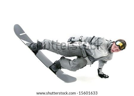 Snowboarder doing extreme tricks, isolated - stock photo
