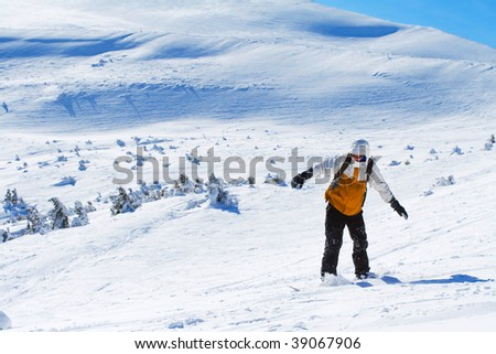 snowboarder in Carpathian mountains