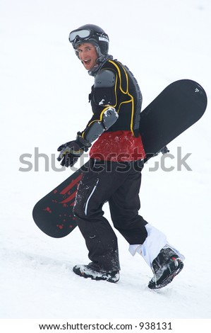 Snowboarder in defence - stock photo