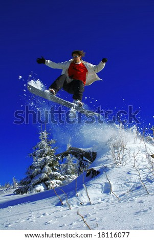 snowboarder is jumping over the tree - stock photo