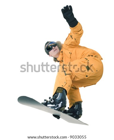 Snowboarder isolated - stock photo