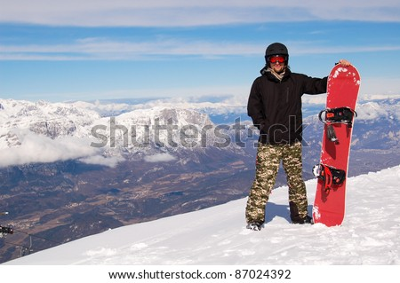 Snowboarder/Male Snowboarder against Mountain Landscape