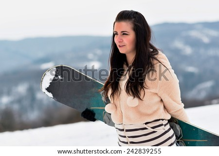 snowboarder on snow  - stock photo