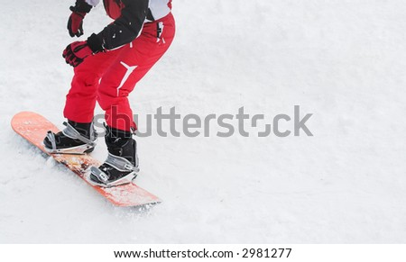 Snowboarder on snow slope. Winter sport lifestyle concept