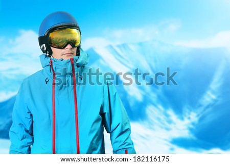 snowboarder on the top of the mountain - stock photo