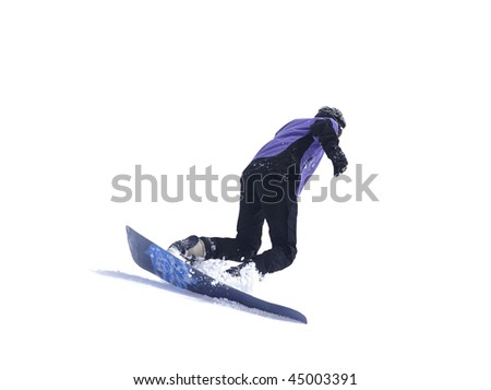 Snowboarder on white background - stock photo